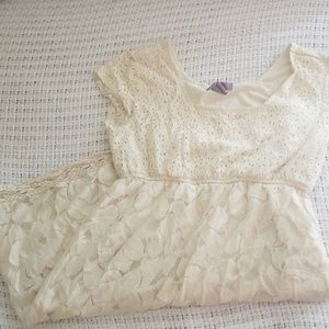 Lace and crochet mini dress